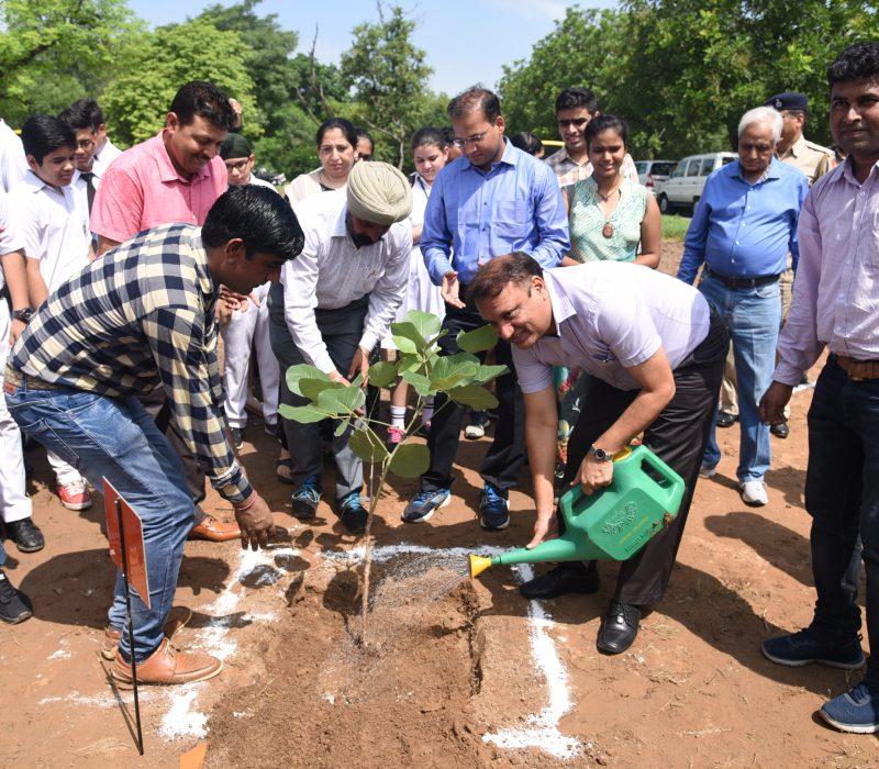 Chief guest Sh. Arun Kumar Gupta, IAS, Home Secy-cum-secy (Forest) UT Chd. planting saplings